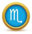 Gold Scorpio icon vector image