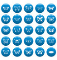 butterfly icons set blue simple style vector image