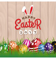 happy easter woodboard greeting card vector image