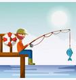 man fishing enjoy it vector image