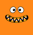 scary monster face emotions vampire tooth fang vector image