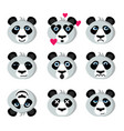 smile icons emoticons panda vector image