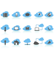 Simple cloud computing icons setblue series vector image