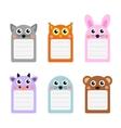Cute animals note set of scrapbook elements vector image