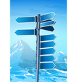 Blank signpost on winter background vector image