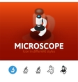 Microscope icon in different style vector image
