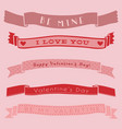 ribbon banner valentine day isolated cute set vector image