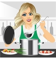 smiling young woman cooking in kitchen vector image
