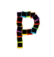 Alphabet P with colorful polaroids vector image vector image