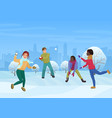 the group of friends playing the snowballs outside vector image