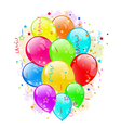 Set party balloons and confetti on white vector image