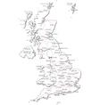 United Kingdom Black White Map vector image vector image