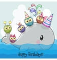 Cute cartoon whale and five owls vector image