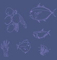 seafood set line vector image