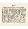 Suitcase Luggage Engraved Retro Hand Drawn Sketch vector image