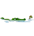 Crocodile hunting fish on the water vector image