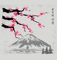 branches and fujiyama mountain vector image