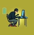 caucasian hacker thief hacking into a computer vector image
