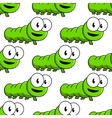 Seamless pattern of cartoon green caterpillars vector image