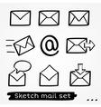 Mail sketch set vector image