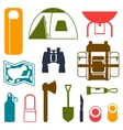 Tourist set of camping equipment icons in flat vector image vector image