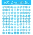 Set of 100 snowflakes vector image vector image