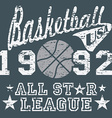 Basketball all star league artwork typography vector image