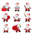 big collection christmas santa claus poses vector image