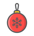 christmas tree ball filled outline icon new year vector image
