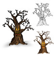 Halloween monsters isolated spooky haunted tree vector image