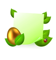 Note with golden easter egg in green leaves vector image