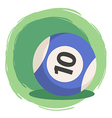 Billiard Ball Number 10 Striped Blue vector image