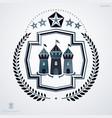 heraldic sign made using vintage elements laurel vector image