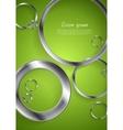 Bright green backdrop with metallic circles vector image vector image