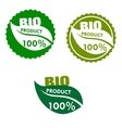 Bio product labels with green leaves vector image
