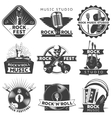 Black Isolated Music Label Set vector image