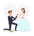bride and groom as love wedding couple cartoon vector image