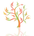 colorful art tree and reflection on white backgrou vector image