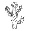 Monochrome silhouette of cactus of three branch vector image