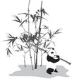 panda with bamboo branch vector image