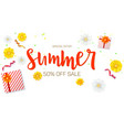 Summer sale ad banner top view gift box with red vector image