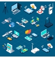 Wireless technologies isometric icons vector image