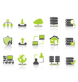 green network server hosting icons vector image vector image