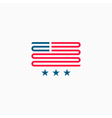 American flag logo red and blue ribbon design vector image