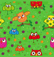 seamless pattern with ornamental owls over green vector image