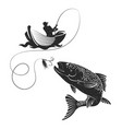 fisherman catches of salmon vector image vector image