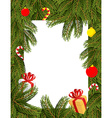Christmas frame Pine branches decorated with vector image