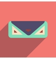 Flat icon with long shadow clutch bag vector image