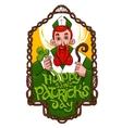 Saint Patrick inside wooden wowen frame vector image