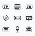 Language icons JP TR GR and GB translation vector image